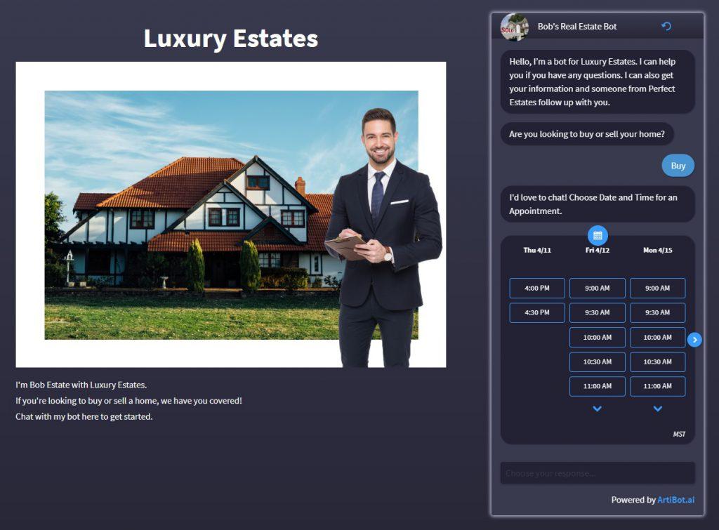 free chatbot website for real estate