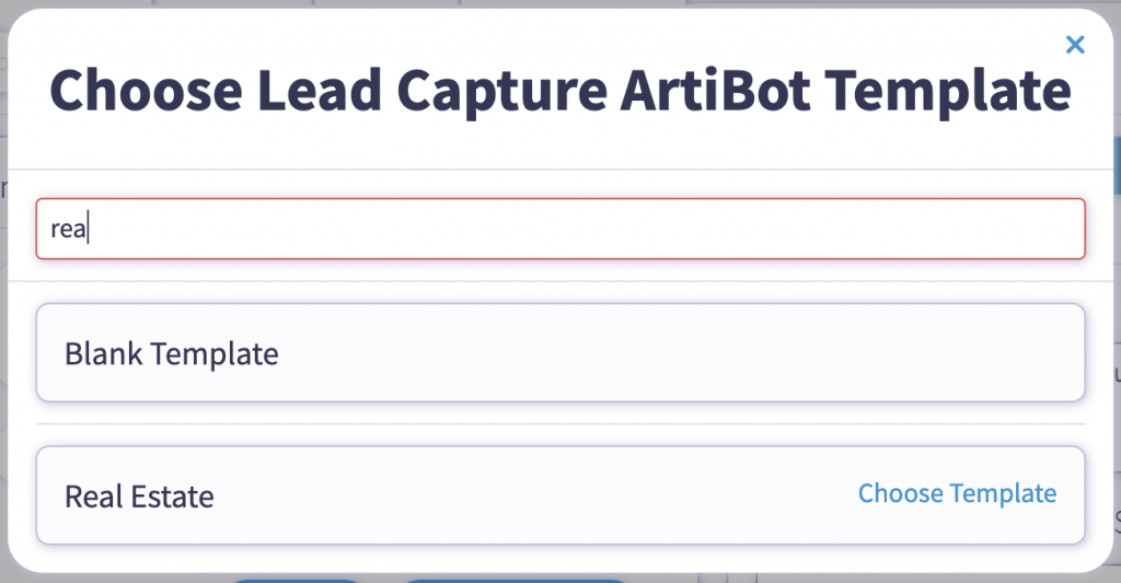 Free chatbot template for real estate