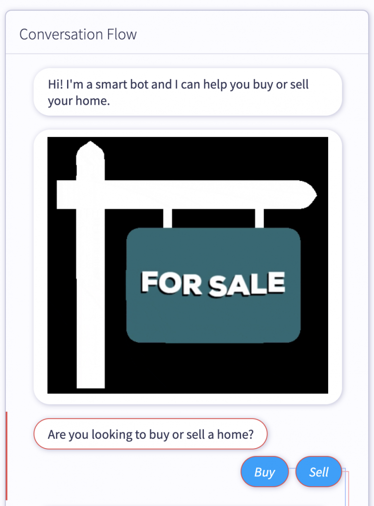 Ask real estate client if they're buying or selling with a free chatbot for real estate
